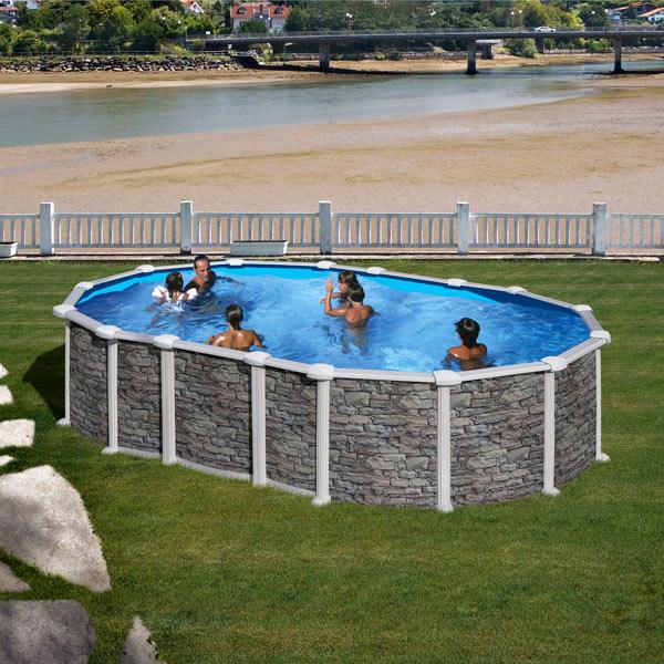 Piscine hors sol santorini 6 10 x 3 75 m h 1 32 m gre for Balai piscine hors sol